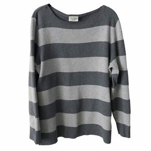 Striped Knit Long Sleeve Grey Sweater XL